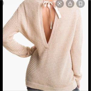 EUC Hinge cozy knit open back pink sweater Blush M